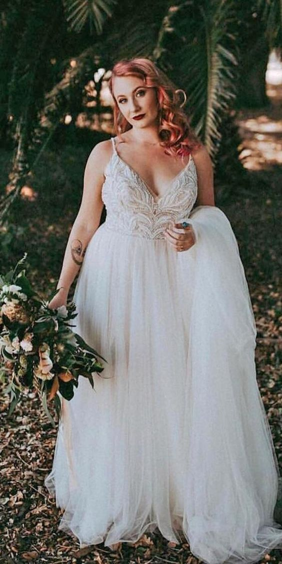 Simple Spaghetti Straps Beaded Plus Size Wedding Dress - daisystyledress
