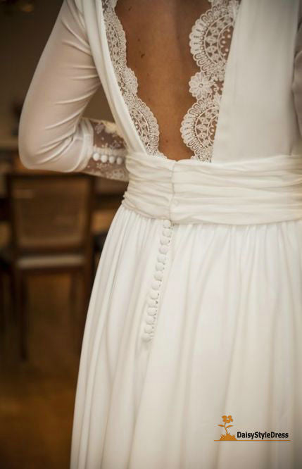 Elegant V-back Half Sleeve Wedding Dress - daisystyledress