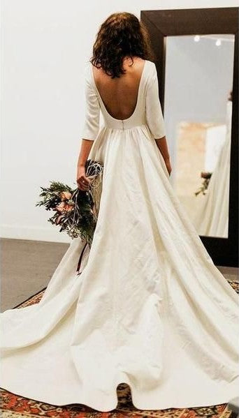 Simple Half Sleeve Backless Wedding Dress - daisystyledress