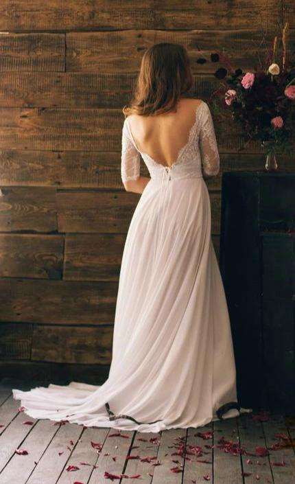 Sexy V-back Half Sleeve Lace Wedding Dress - daisystyledress