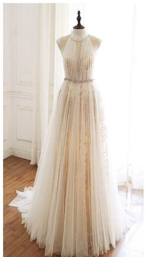 Halter Neckline Light Champagne Wedding Dress - daisystyledress