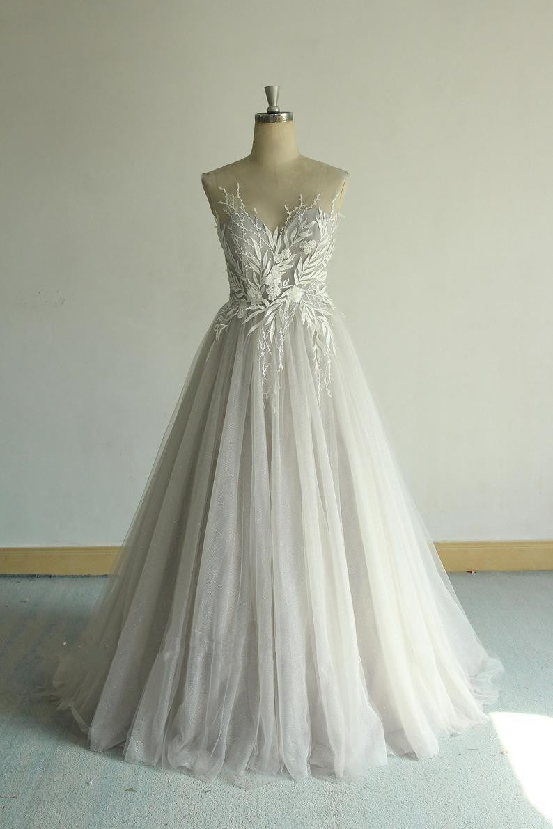 Fashion Sheer Lace and Tulle Silver Wedding Dress - daisystyledress