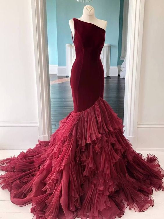 Mermaid One Shoulder Burgundy Evening Dress - daisystyledress