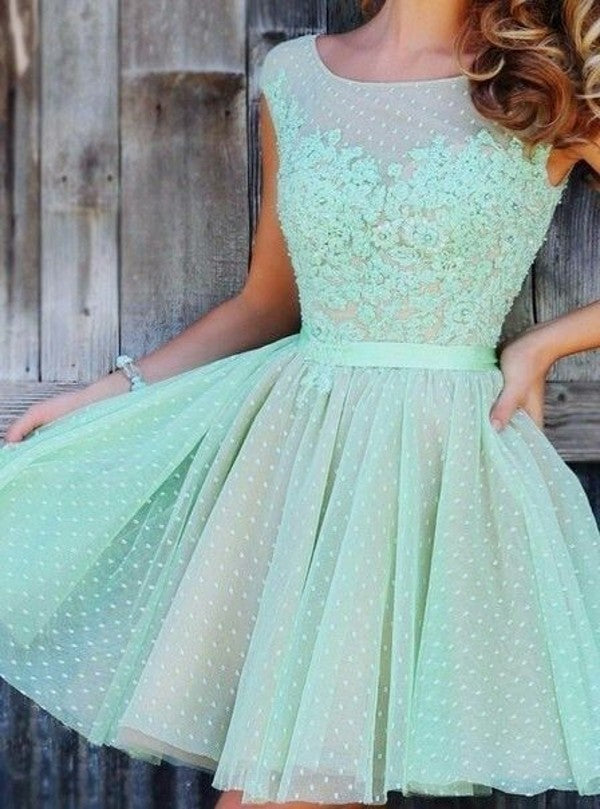 Knee Length Cap Straps Mint Homecoming Dress - daisystyledress