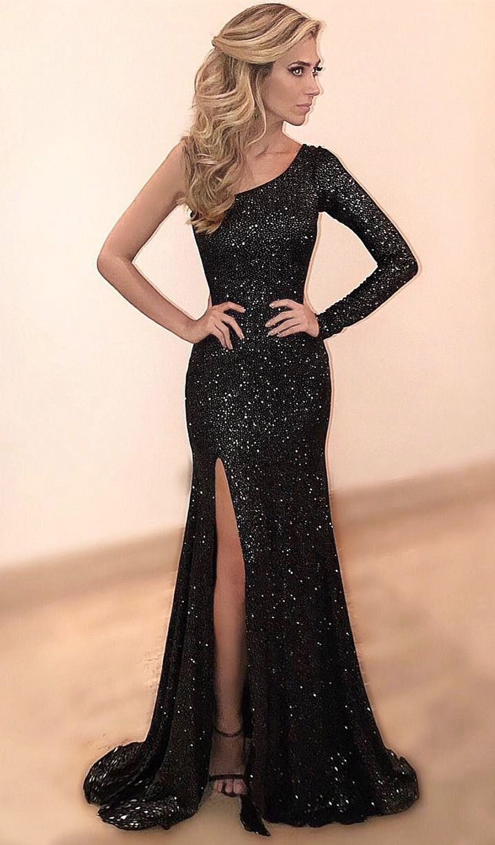 Sexy Slit Black Sequins Single Sleeve Evening Dress - daisystyledress