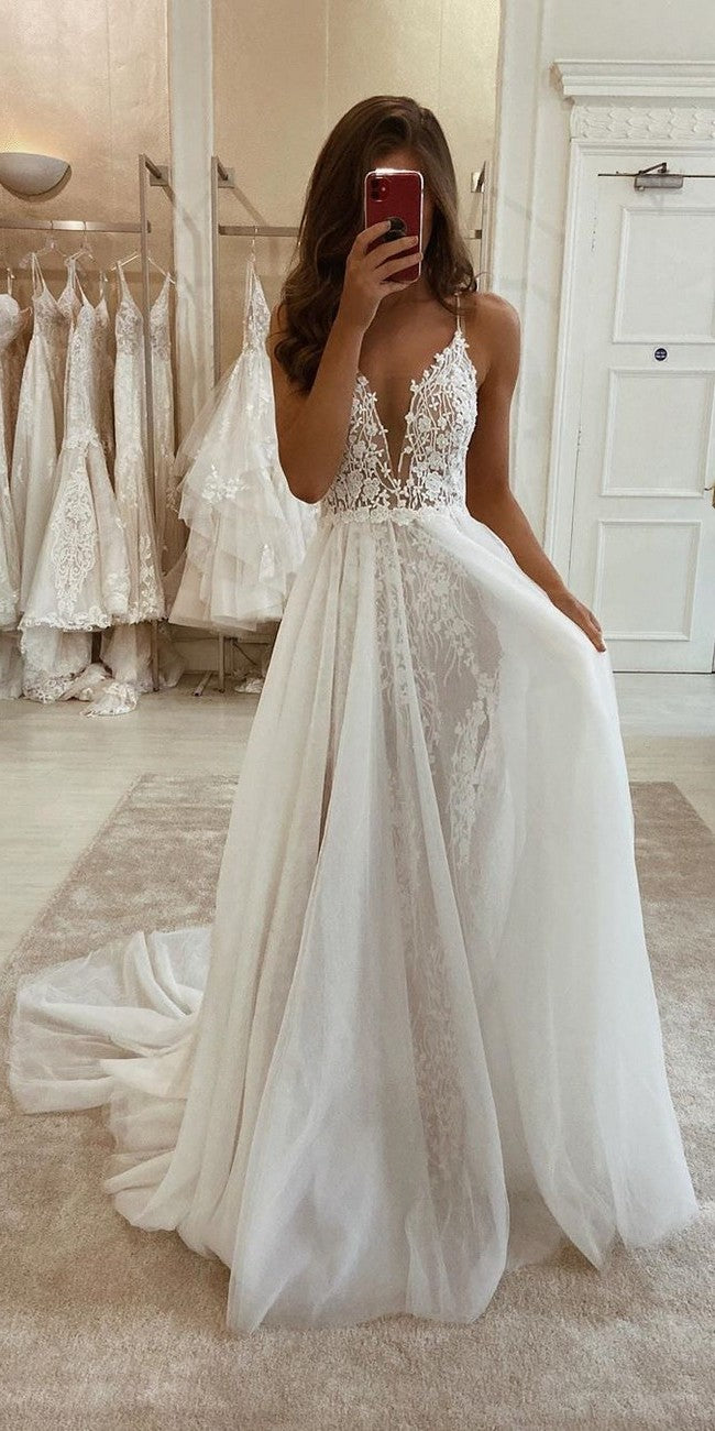 Spaghetti Straps Boho Lace Wedding Dress - daisystyledress