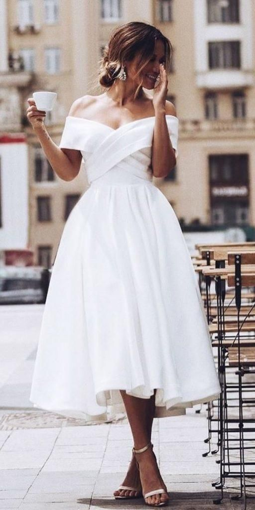 Short Off Shoulder Wedding Dress