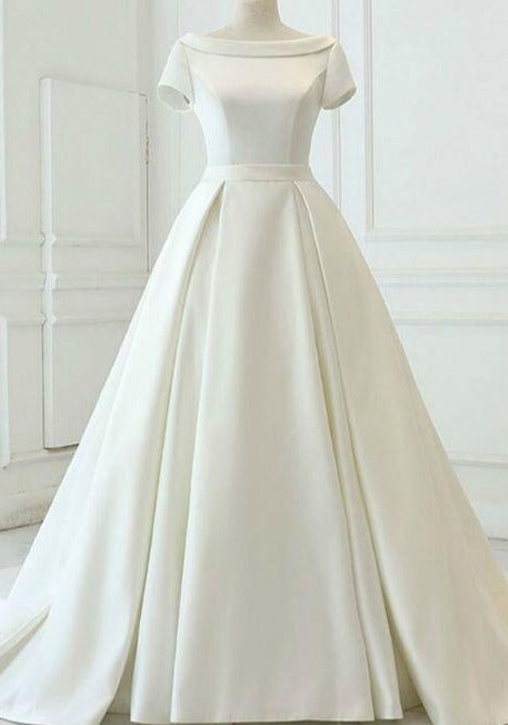 High Quality Satin Short Sleeve Wedding Dress - daisystyledress