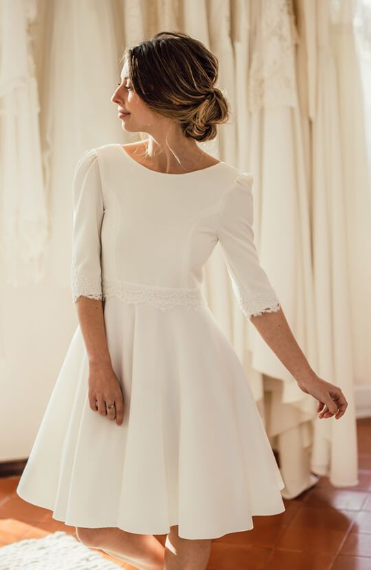 Half Sleeve Informal Short Wedding Dress - daisystyledress