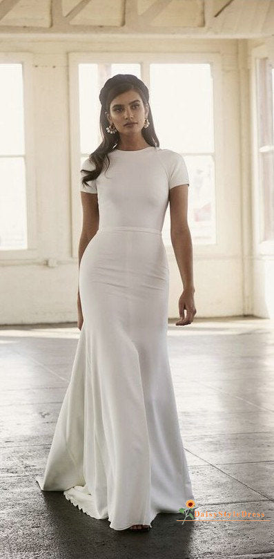 Simple Short Sleeve Sexy Low Back Wedding Dress - daisystyledress