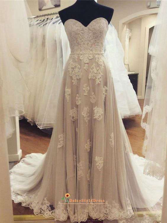 Sweetheart Neckline Champagne Lace Wedding Dress
