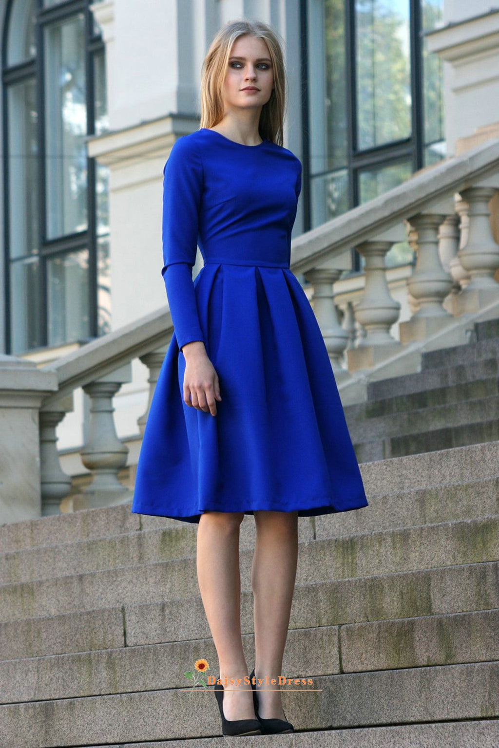 Long Sleeve Royal Blue Formal Party Dress