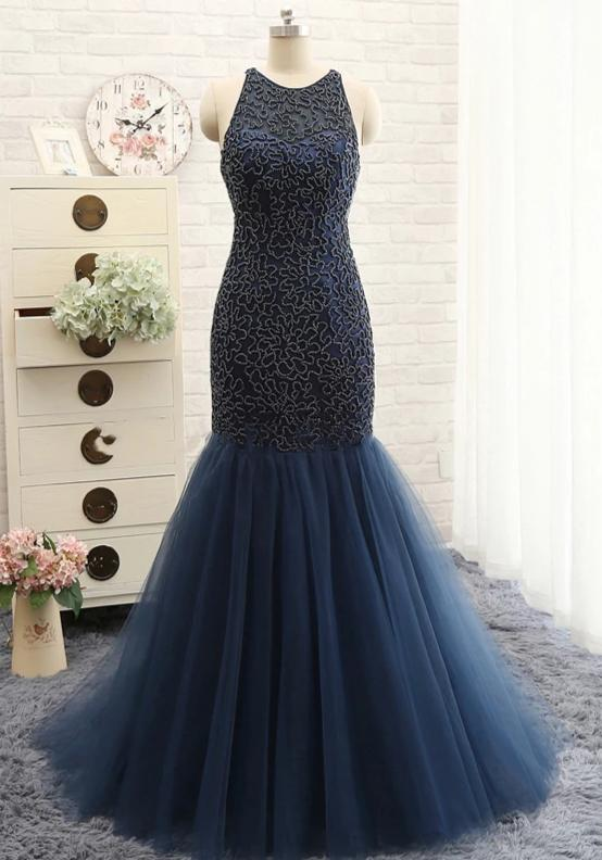 Mermaid Beaded Navy Blue Prom Dress - daisystyledress