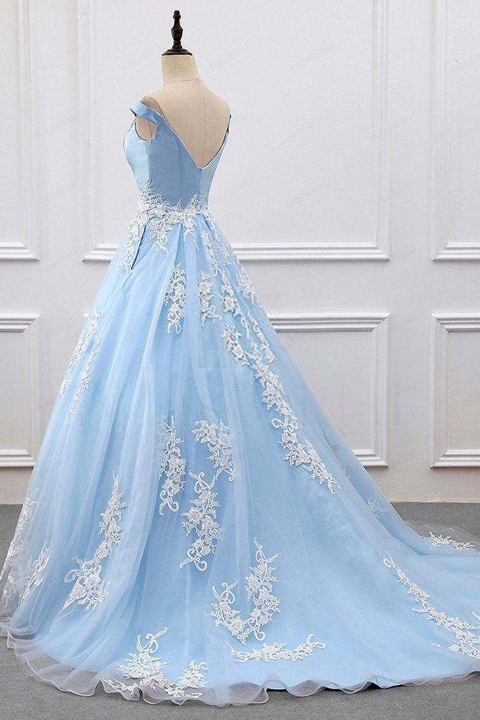 Ball Gown Off Shoulder Sleeve Sky Blue Prom Dress - daisystyledress