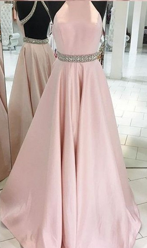 Halter Neckline Open Back Light Pink Prom Dress - daisystyledress
