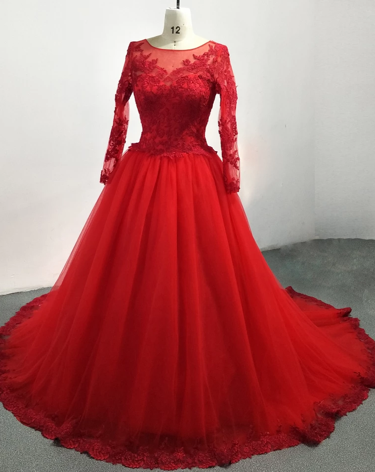 Modest High Neck Long Sleeve Red Wedding Dress - daisystyledress