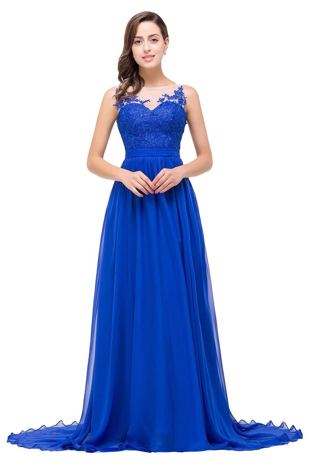 A line Slit Royal Blue Prom Dress - daisystyledress