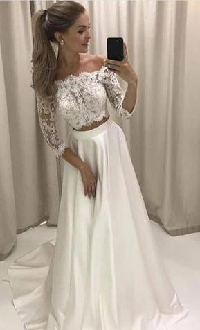 Two Pieces Long Sleeves Lace White Prom Dress - daisystyledress