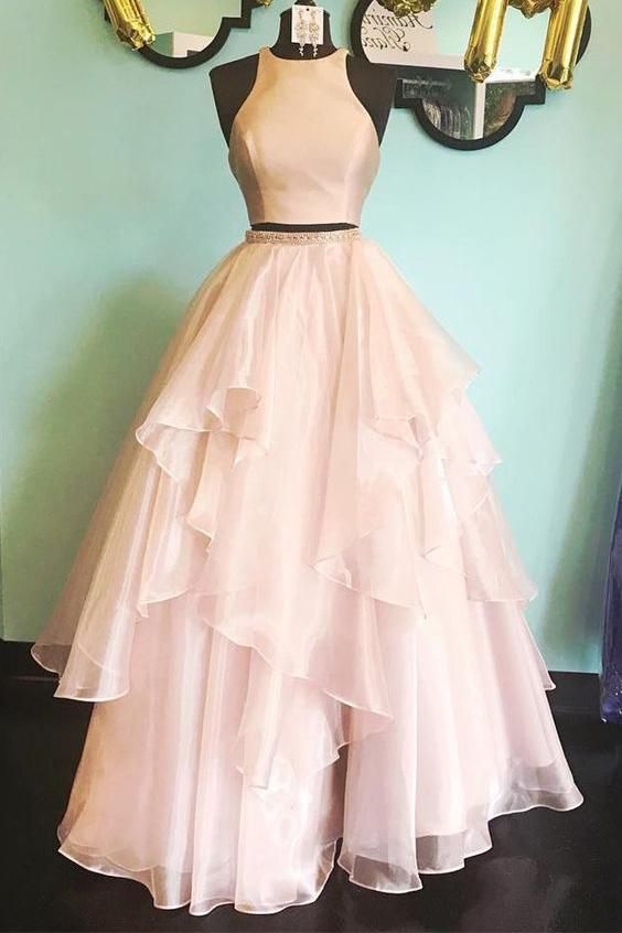 Fashion Two Pieces Blush Pink Prom Dress - daisystyledress