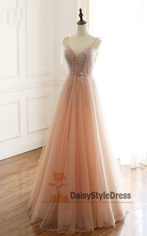 Spaghetti Straps Beaded Blush Evening Dress - daisystyledress