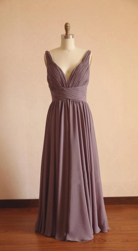 A line V-neckline Brown Bridesmaid Dress - daisystyledress