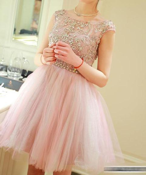 Knee Length Cap Straps Blush Pink Homecoming Dress - daisystyledress