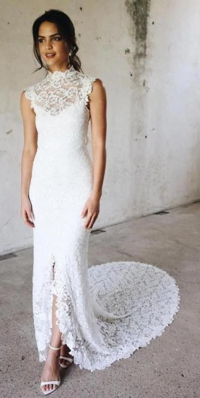Halter Neckline Slit High Quality French Lace Boho Wedding Dress - daisystyledress