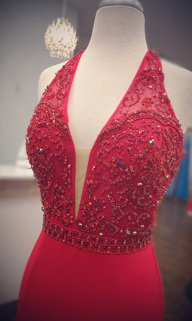 Beaded Halter Neckline Sexy Slit Red prom Dress - daisystyledress