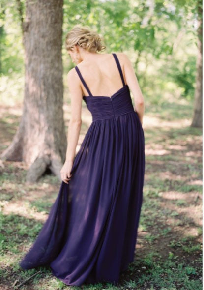 A line V-neckline Navy Blue Bridesmaid Dress - daisystyledress