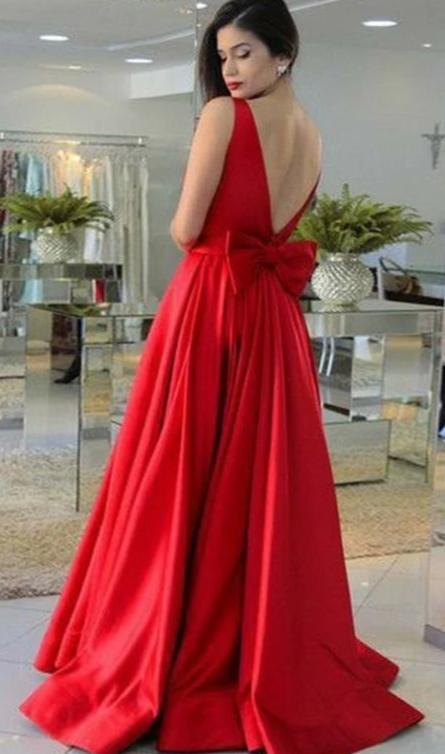 A line V-back Red Prom Dress - daisystyledress