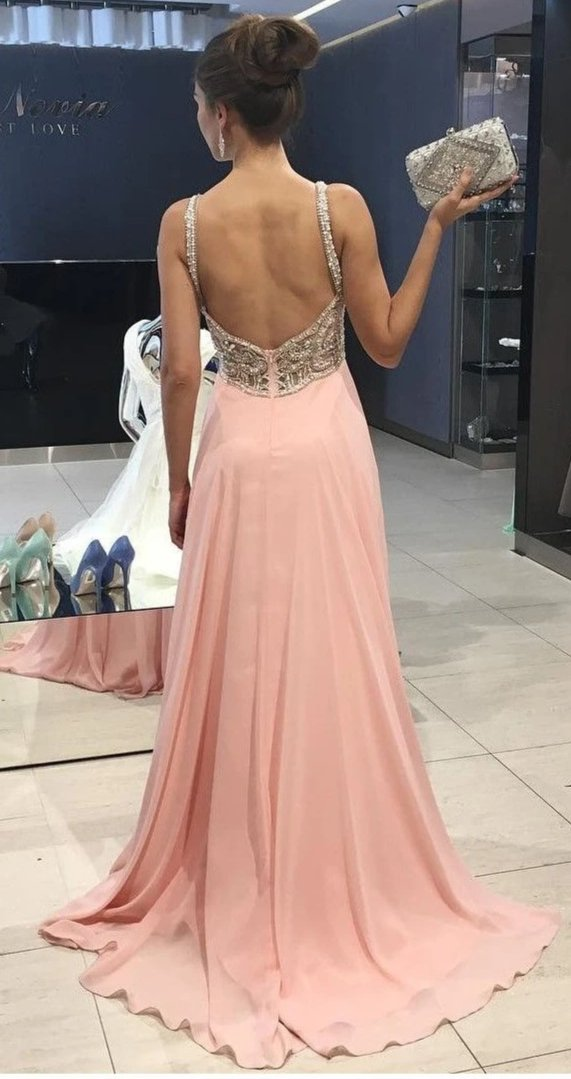 Elegant Beaded Straps Blush Pink Evening Dress - daisystyledress