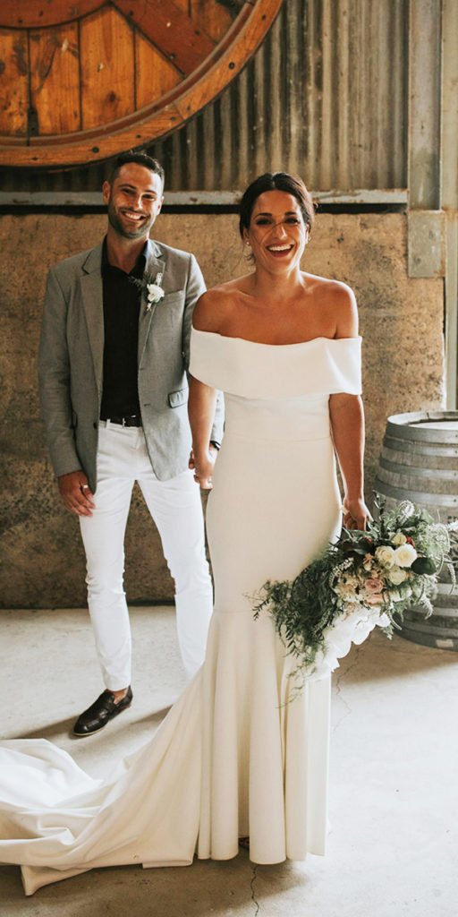 Sheath Off Shoulder Sleeves High Quality Jersey Wedding Dress - daisystyledress