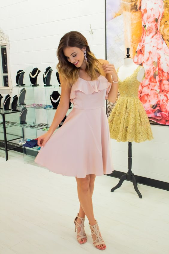Knee Length Spaghetti Straps Blush Homecoming Dress - daisystyledress