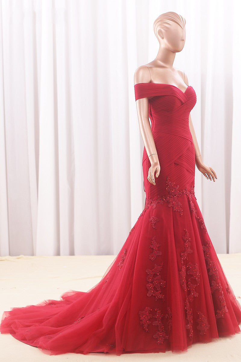Mermaid Off Shoulder Sleeve Red Evening Dress - daisystyledress