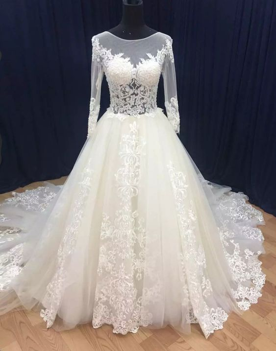 Sexy Illusion Long Sleeve Lace Wedding Dress - daisystyledress