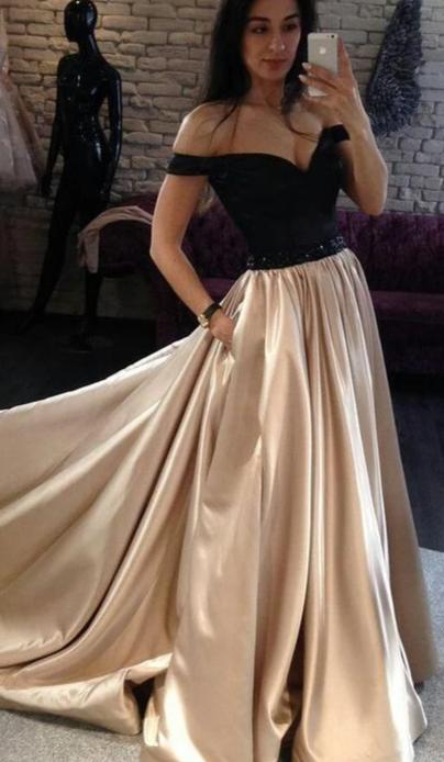 A line Off Shoulder Sleeve Champagne Prom Dress - daisystyledress