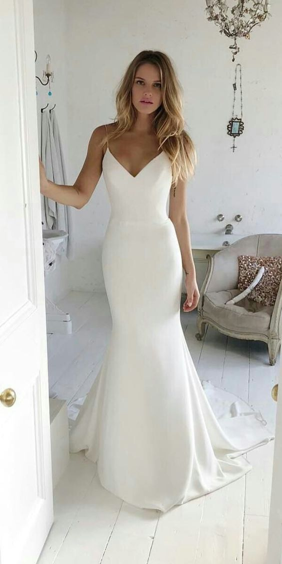Mermaid Spaghetti Straps V-neck Open Back Wedding Dress - daisystyledress