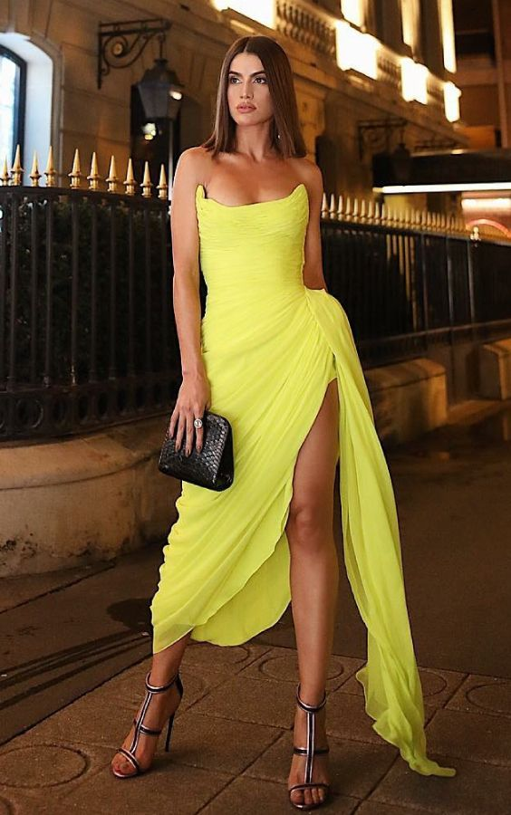 Sexy Slit Short Yellow Dinner Party Dress