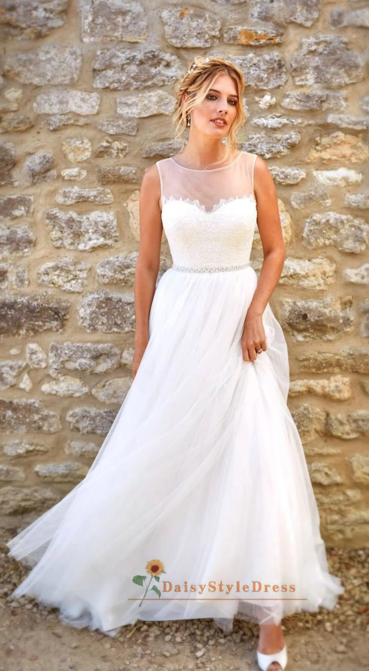 White Simple Wedding Dress - daisystyledress