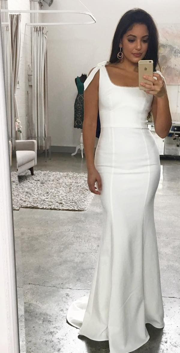 Mermaid Square Neckline Wedding Guest Dress - daisystyledress