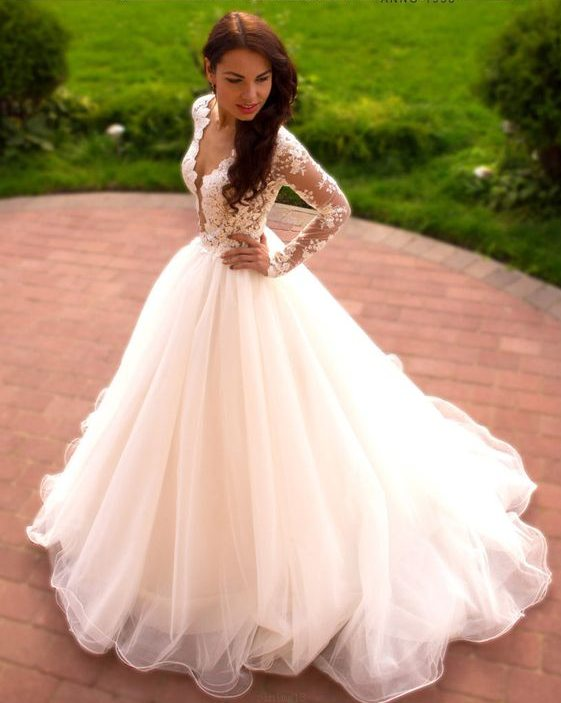 Ball Gown High Quality French Lace Long Sleeve Wedding Dress - daisystyledress