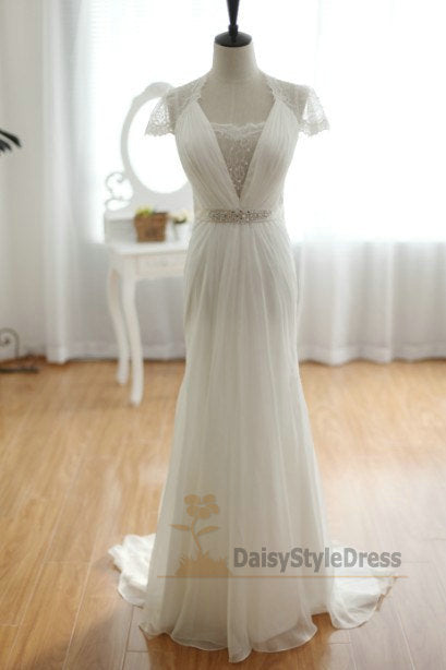 Cap Sleeves Illusion Lace Wedding Dress - daisystyledress