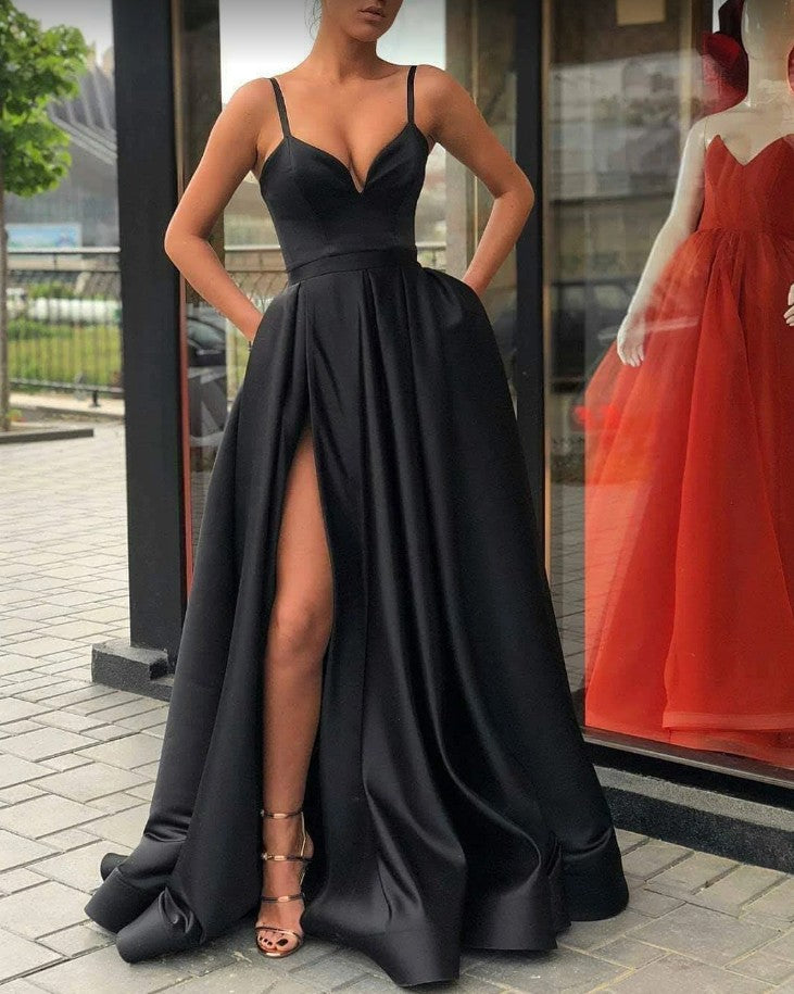 A line Spaghetti Straps Black Slit Prom Dress - daisystyledress