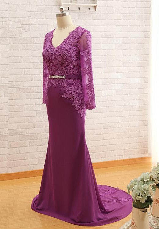 Mermaid Long Sleeve  Lace Purple Evening Dress - daisystyledress