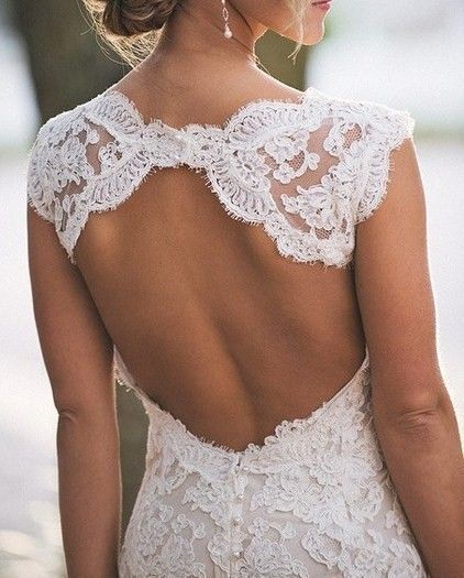 Sheath Keyhole Back Lace Wedding Dress - daisystyledress