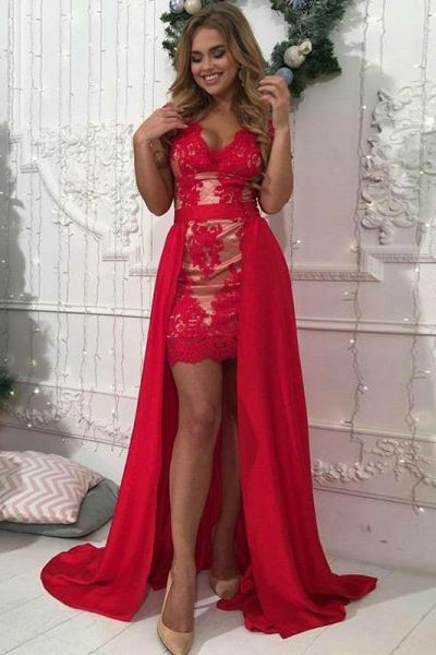 Sexy V-neckline Red Lace Evening Dress with Detachable Skirt - daisystyledress