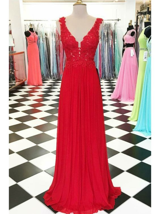 Full Length A Line V-neckline Red Prom Dress - daisystyledress