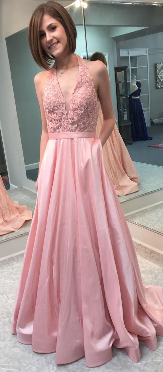 A line Halter Neckline Pink Prom Dress - daisystyledress