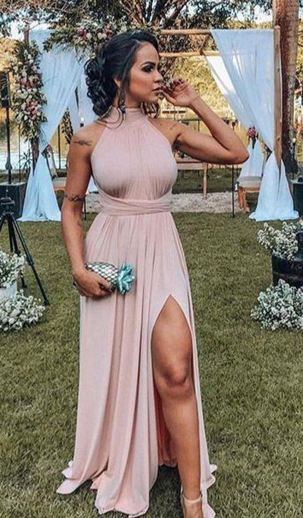 A line Halter Neckline Blush Slit Evening Dress - daisystyledress