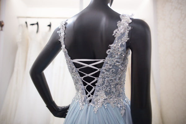 A line V-back Light Blue Evening Dress - daisystyledress